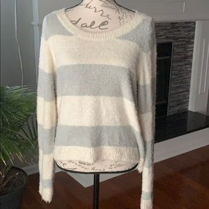 LC Lauren Conrad striped fuzzy sweater